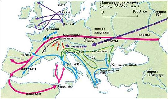 Переселение народов. Путь алан показан красным цветом