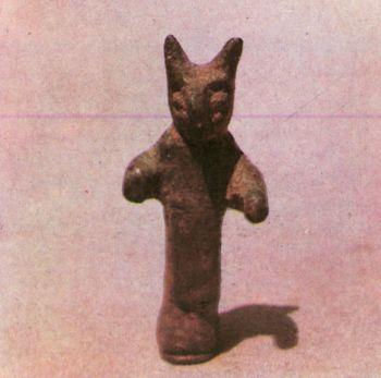 Скульптурная фигурка фантастического существа. </p><p> СОАССР. Первое тыс. до н. э. </p><p> Бронза, литье. Высота 7 см.</p><p> The figure of a fantastic creature. </p><p> First millennium В. С. Bronze, casting. </p><p> 7 cm. high. North Ossetia</p><p>