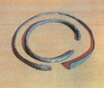 Шейные гривны. Первое тыс. до н. э. </p><p> СОАССР. Бронза, литье, ковка, </p><p> гравировка. Размеры 18x18 см, </p><p> 13x12 см.</p><p> Neck slides First millennium В. С. </p><p> Bronze, casting, forging 18x18, 13X12. </p><p> North Ossetia.</p><p>