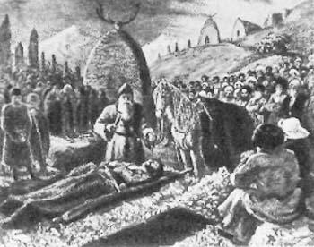 Посвящение коня покойнику. Картина М. Туганова. <br>Северо-Осетинский художественный музей.